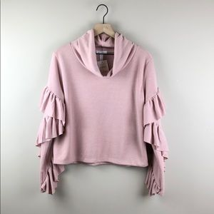 NWT Leith Pink Ruffle Sleeve Cowl Neck Top (M)